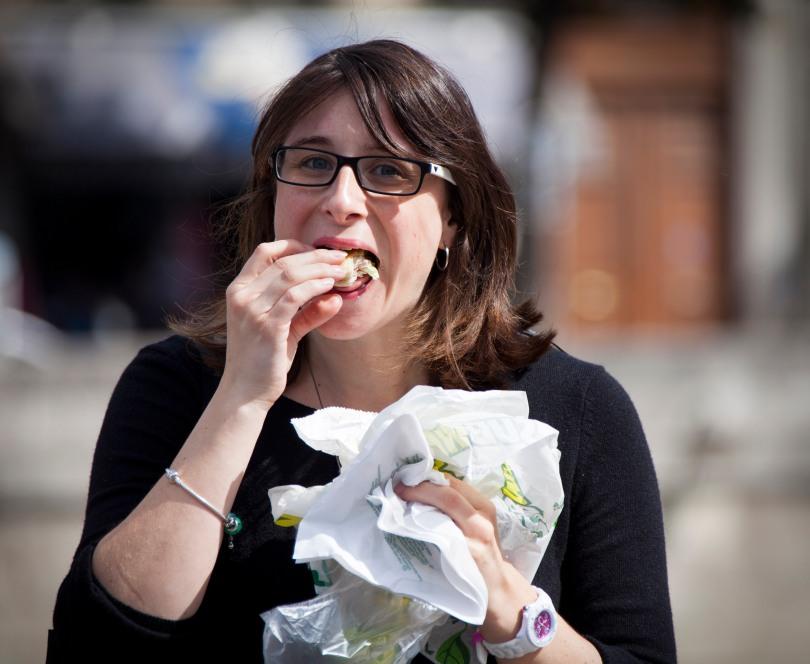 A women enjoys her lunch