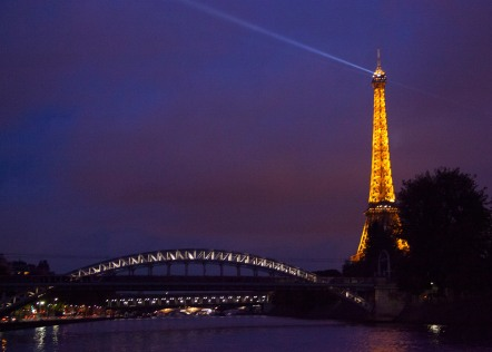 Eiffel Tower and bridge.