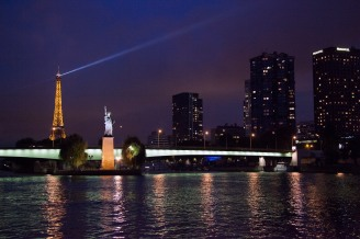Eiffel Tower and French Statue of Liberty