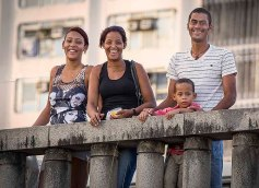 A Brazilian family out for a stroll.