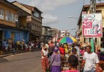 Busy city street market in Freetown.
