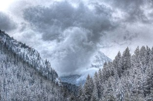 Storm clouds swirl in American Fork Canyon.