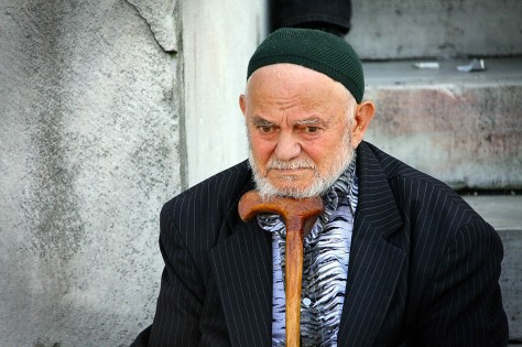 Old Man on Steps in Istanbul, Turkey.