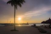 Beach and Boat Dock Sunset, Aruba.