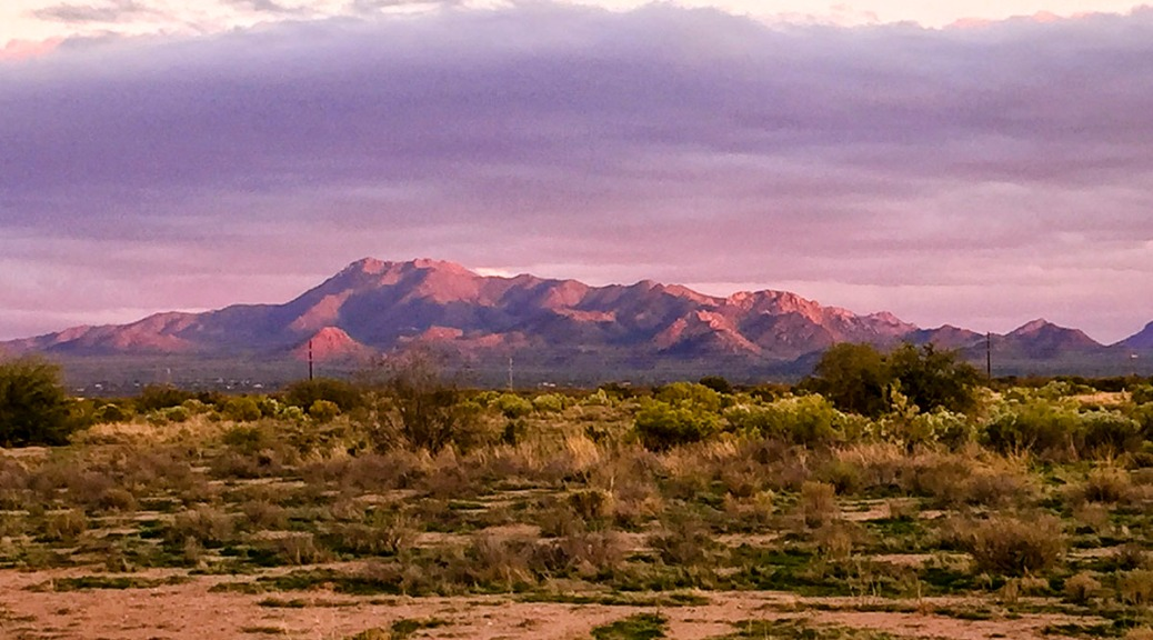 Arizona painted mountain sunset.