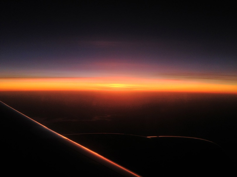 Rising sun over the Amazon.