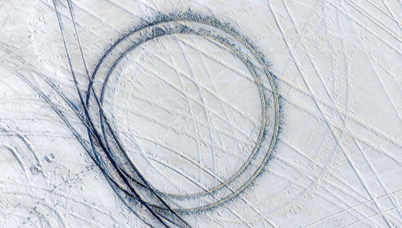 Circular tire tracks on the Bonneville Salt Flats.