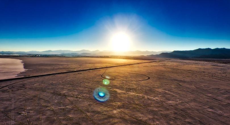 Aerial sunset over the Bonneville Salt Flats.