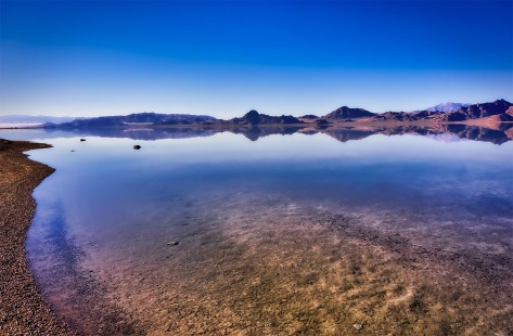 Water covering miles and miles of the Bonneville Salt Flats is only a few inches deep.