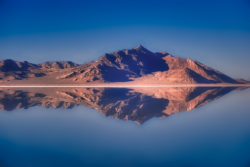 Salt Flats mountain reflections.