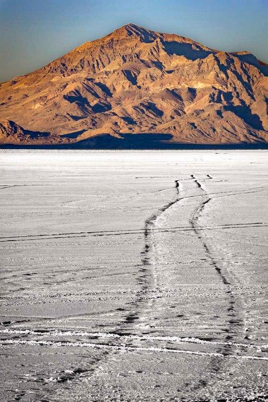 Tire tracks on the Bonneville Salt Flats.