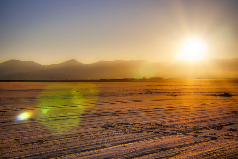 Golden sunset on the Bonneville Salt Flats.