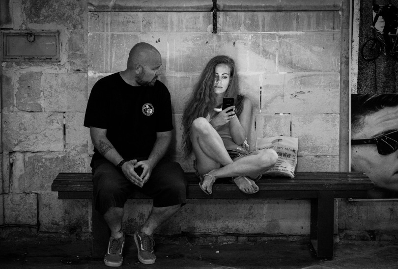 Ryan & Meggan on a bench, B&W.